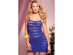 Blue Seamless Solid and Net Stripe Dress