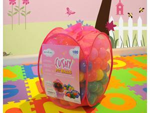 "EnviUs Cushy Pit Balls - Princess 100 : ""Phthalates Free"" 100 Count 6.5 CM w/Pink Mesh Tote Bag : 6 Colors (16 Red, 16 Orange, 16 Yellow, 16 Green, 16 Purple, 20 Pink)"