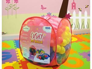 "EnviUs Cushy Pit Balls - Princess 200 : ""Phthalates Free"" 200 Count 6.5 CM w/Pink Mesh Tote Bag : 6 Colors (30 Red, 30 Orange, 30 Yellow, 30 Green, 30 Purple, 50 Pink)"