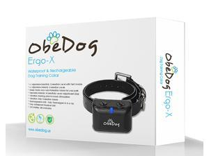 ObeDog Ergo-X Rechargeable and Full Waterproof No Bark & Dog Training Collar with separate Intensity and Sensitivity Adjustments and Auto-Protection Mode for All Dogs …