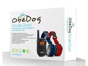 ObeDog 330 Yards Stride Dual Rechargeable & Weatherproof Dog Training Collar with Amber LCD Remote - Vibration / Static Shock / Tone Training Simulations for All Dogs