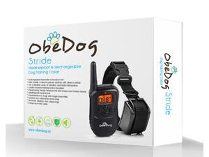 ObeDog 330 Yards Stride Rechargeable & Weatherproof Dog Training Collar with Amber LCD Remote - Vibration / Static Shock / Tone Training Stimulation for All Dogs