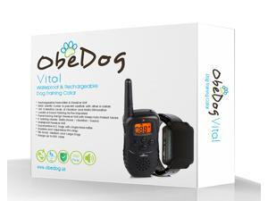 ObeDog 330 Yards Vital Rechargeable & Full Waterproof Dog Training Collar with Amber LCD Remote - Vibration / Static Shock / Tone / Locate Training Stimulation for All Dogs