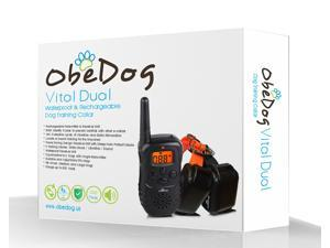 ObeDog 330 Yards Vital Dual Rechargeable & Full Waterproof Dog Training Collar with Amber LCD Remote - Vibration / Static Shock / Tone / Locate Training Stimulation for All Dogs