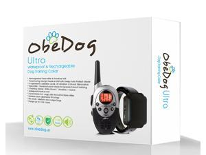 ObeDog 1100 Yards Ultra Rechargeable & Full Waterproof Dog Training Collar with Amber LCD Remote - Vibration / Static Shock / Tone / Locate Training Stimulation for All Dogs