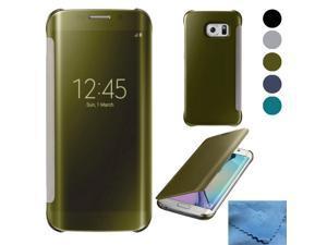 Galaxy S7 Edge Case, EEEKit for Samsung Galaxy S7 Edge , Luxury Mirror Clear View Flip Cover Case
