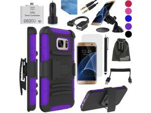 EEEKit 8in1 Starter Kit for Samsung Galaxy S7 Edge ,Hybrid Cover Case,Screen Protector,OTG Card Reader/Cable,Audio Cable,Car Charger/Mount,USB Cable
