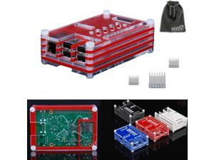 EEEKit 3in1 Kit for Raspberry Pi B+,Sliced 9 Layers Case Box+3 Heatsink+pouch