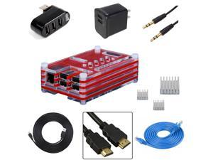 EEEKit for Raspberry Pi B+,Case Box+heatsinks+HDMI+USB+Ethernet+charger+Splitter