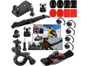 EEEKit Sports Kit for GoPro Hero 4 Black Silver HD 3+/3, 360 Degree Wrist Mount + Bike Handlebar Mount+ 360 Rotary Clip Mount + Helmet Strap Mount + 2 Pack Flat Surface Mount + Adhesive Mount