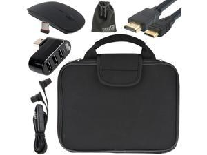 EEEKit 5-in-1 Starter Kit for RCA 11 Maven Pro, Carrying Briefcase Sleeve Case Bag + 3 Port USB 2.0 Hub + 2.4G Wireless Optical Mouse + 3.5mm In-ear Earphone + Mini HDMI to HDMI Cable 6ft