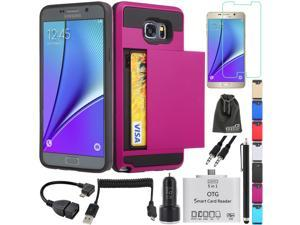 EEEKit 8-in-1 Starter Kit for Samsung Galaxy Note 5, Heavy Duty Drop Protection Card Slot Wallet Case+Premium Tempered Glass+Micro USB OTG Card Reader+Car Charger+Micro USB Spring Cable+OTG Cable + 3.
