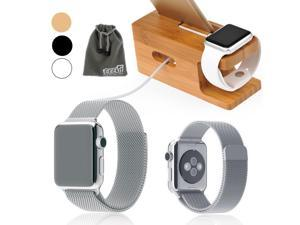 EEEKit 2-in-1 Kit for Apple watch 38mm, Stainless Steel Magnetic closure Milanese Loop Mesh Watch Band Strap + Bamboo Wood Station Cradle Dock, Compatible With Apple watch, Watch Sport, Watch Edition