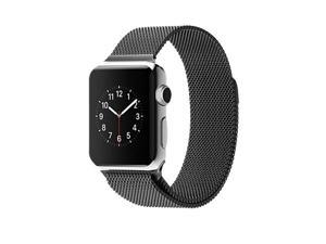 EEEKit 2-in-1 Starter Kit for Apple watch 42mm, Stainless Steel Magnetic closure Milanese Loop Mesh Band Strap + Bamboo Station Cradle Dock, Compatible With Apple watch, Watch Sport, Watch Edition