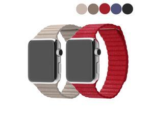 2 Packs Genuine Leather Band for Apple Watch 38mm, EEEKit Replacement Leather Loop Watch strap with Magnetic Buckle for Apple Watch iWatch / Edition / Sport