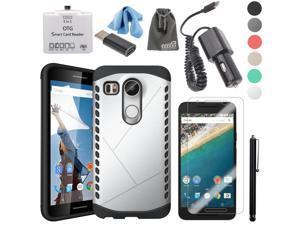 EEEKit 5-in-1 Starter Kit for LG Nexus 5X,Nexus 5X Case Cover+Nexus 5X Tempered Glass Protector+Type C USB 3.1 Car Charger+USB Type C to Micro USB Adapter Head+Micro USB OTG Card Reader