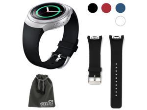 EEEKit Replacement for Samsung Gear S2 (SM r720 Version ONLY) Smartwatch, Silicone Watch Band Bracelet Strap and Storage Pouch