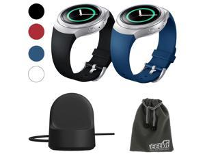 EEEKit 3in1 Starter Kit for Samsung Gear S2 (SM r720 Version ONLY) Smartwatch, Silicone Watch Band Bracelet Strap and Wireless Charger Dock Stand