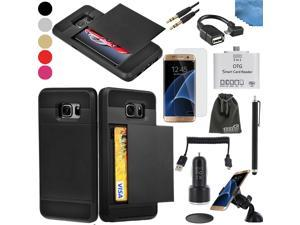 EEEKit 8in1 Starter Kit for Samsung Galaxy S7,Card Pocket Cover Case,Screen Protector,OTG Card Reader/Cable,Audio Cable,Car Charger/Mount,USB Cable