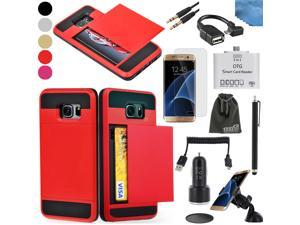 EEEKit 8in1 Starter Kit for Samsung Galaxy S7 Edge,Wallet Card Pocket Cover Case,Screen Protector,OTG Card Reader/Cable,Car Charger/Mount,USB Cable