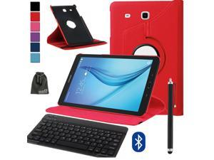 EEEKit 3in1 Office Kit for Samsung Galaxy Tab E 8.0 T375 T377,Rotating PU Leather Flip Case Cover and Wireless Bluetooth Keyboard Keypad and Stylus