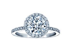 2.13 Ct. Round Diamond Halo Pave Thin Band Engagement Ring GAL Certieid I1 clarity J color FREE ring size!
