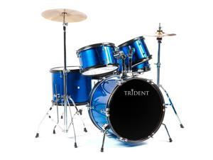 NEW Trident Drum Set 5 PCS Complete Adult Set Cymbals Full Size Pearl Blue