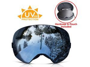 Xspec Snow Snowboard Ski Goggles UV400 w/ Detachable Revo Lens w/ Hard case
