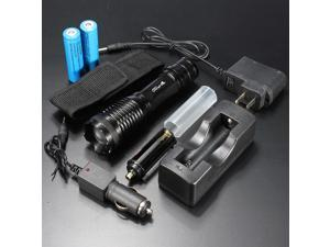 UltraFire 1800LM CREE XML T6 LED Zoomable Flashlight Torch Lamp 18650 Battery + AC Car Charger Set