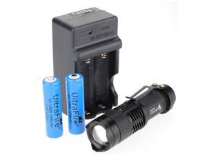 UltraFire CREE Q5 LED Flashlight Torch SA3 Zoomable Zoom Light Lamp Charger + OEM-compatible 14500 Rechargeable Battery