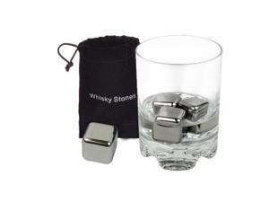4x Reusable Stainless Steel Ice Cubes Whiskey Cooler Chiller with Free Bag