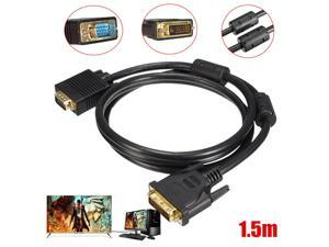 5FT/1.5M DVI-D 24Pin Male to VGA 15Pin Male Connector Cable PC to TV LCD Monitor