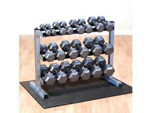 Body-Solid 5-50 Gray Hex Dumbbell set & GDR363 Rack and Rubber Mat