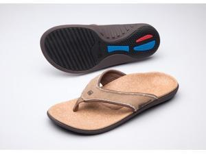 Spenco Yumi Men's Orthotic Flip Flops Straw / Java / Cork