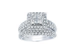 2 Carat 14k White Gold 4 Stone Princess Diamond Engagement Ring & Bridal Set