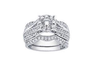 2 Carat 14k White Gold Round Diamond Engagement Ring & Bridal Set