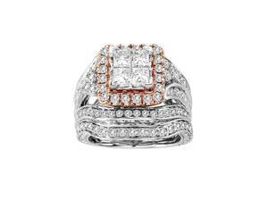 3 Carat 14k Rose and White Gold Diamond Engagement Ring & Bridal Set