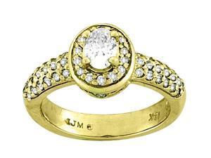 0.98 Carat Round Halo Diamond Engagement Ring 14K Yellow Gold