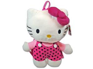 Sanrio HKGF512 Hello Kitty 14-Inch Plush Backpack - Pink w/Black Dots