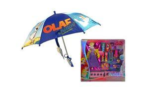 Disney Frozen Olaf Toddler Umbrella 3D Molded handle With Princess Beauty Cosmetic Set