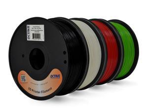 Octave 1.75mm ABS Filament 4 Spool Bundle for Reprap, MakerBot, Afinia and UP! 3D Printer, 1kg (2.2lbs) each - White, Black, Red & Green, Free Shipping