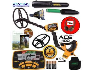 Garrett ACE 400 Metal Detector with Waterproof Search Coil & Accessories Bundle