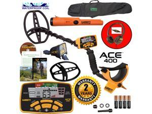 Garrett ACE 400 Metal Detector with Waterproof Coil Pro-Pointer AT and Carry Bag