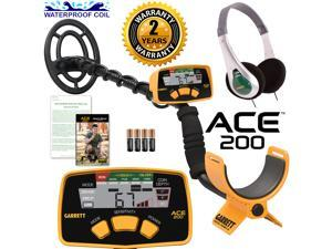 Garrett ACE 200 Metal Detector with DD Waterproof Search Coil and Headphones