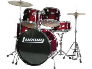 Ludwig Accent Fuse 5-Pc Drum Set (LC1704) Wine Red Sparkle - Includes: Hardware, Throne, Pedal, Cymbals, Sticks & Drum Key
