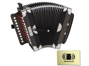 Hohner 3002 Cajun Style Arietta Accordion (Black) Bundle with Custom Design Zorro Sounds Cleaning Cloth
