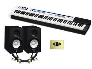 Casio Privia PX-5S Digital Stage Piano Bundle with 2 Yamaha HS5 Studio Monitors, 2 Conquest Sound 10-foot XLR Cables and Zorro Sounds Polishing Cloth