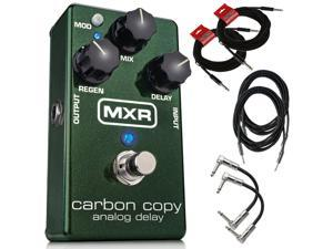 Dunlop M169 MXR Carbon Copy Analog Delay Guitar Effect Pedal M169 with 2 patch cables, 2 10 ft instrument cables, and 2 18 ft cables