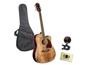 Oscar Schmidt OG2CESM 3/4 Size Acoustic Guitar Bundle with Gig Bag, Tuner,  and Polishing Cloth - Spalted Maple