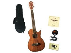 Oscar Schmidt OU55CE Baritone Ukulele Bundle with Gig Bag, Tuner,  and Polishing Cloth